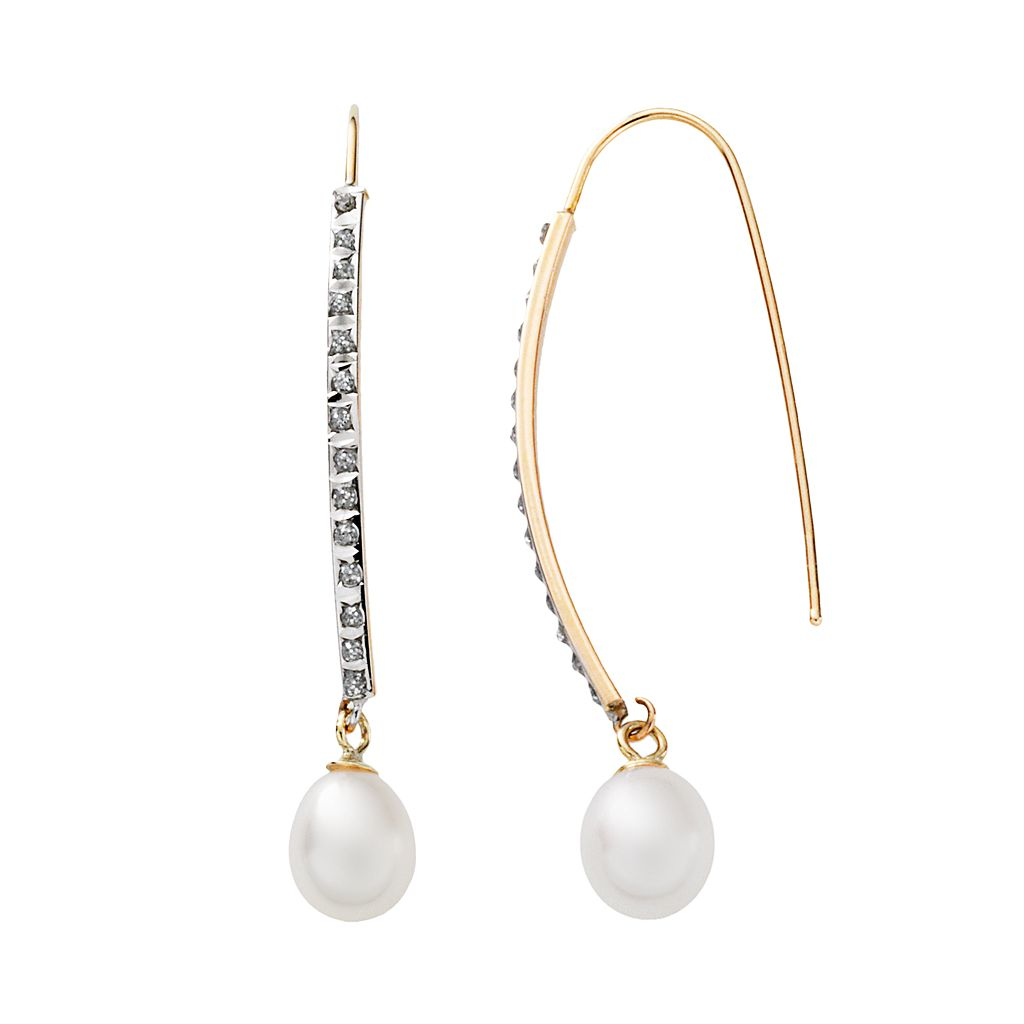 Diamond Fascination® 14k Gold Freshwater Cultured Pearl & Diamond Accent Stick Drop Earrings