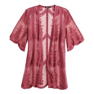 Women's Miss Chievous All-Over Embroidered Lace Kimono