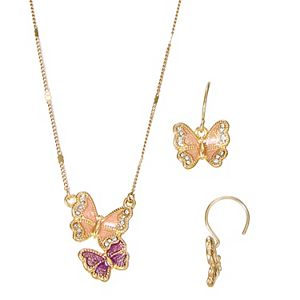 Napier Gold Tone Simulated Crystal Butterfly Pendant Necklace & Drop Earrings Set