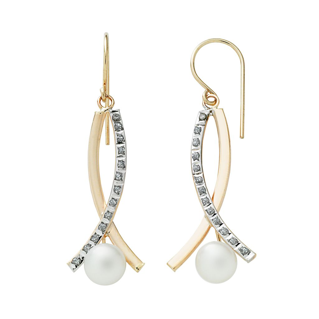 Diamond Fascination® 14k Gold Freshwater Cultured Pearl & Diamond Accent Crisscross Drop Earrings