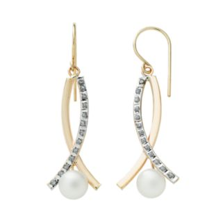 Diamond Fascination 14k Gold Freshwater Cultured Pearl and Diamond Accent Crisscross Drop Earrings