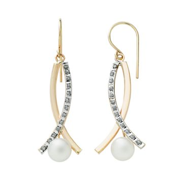 Diamond Fascination® 14k Gold Freshwater Cultured Pearl & Diamond Accent Crisscross Drop Earrings