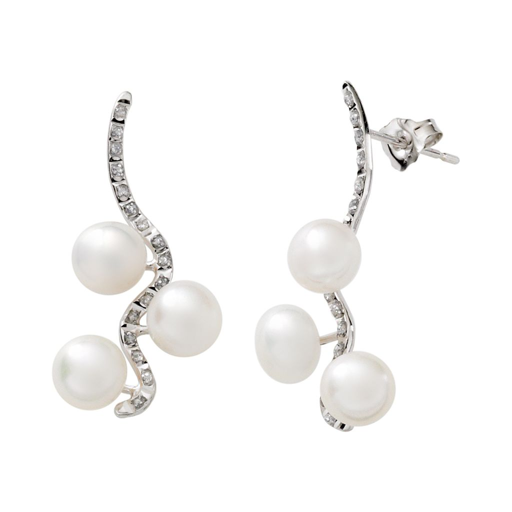 Diamond Fascination® 14k White Gold Freshwater Cultured Pearl & Diamond Accent Drop Earrings