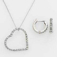 Diamond Mystique™ Platinum Over Silver Diamond Accent Heart Pendant & Hoop Earring Set