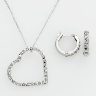 Diamond Mystique Platinum Over Silver Diamond Accent Heart Pendant and Hoop Earring Set