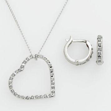 Diamond Mystique™ Platinum Over Silver Diamond Accent Heart Pendant & Hoop Earring Set