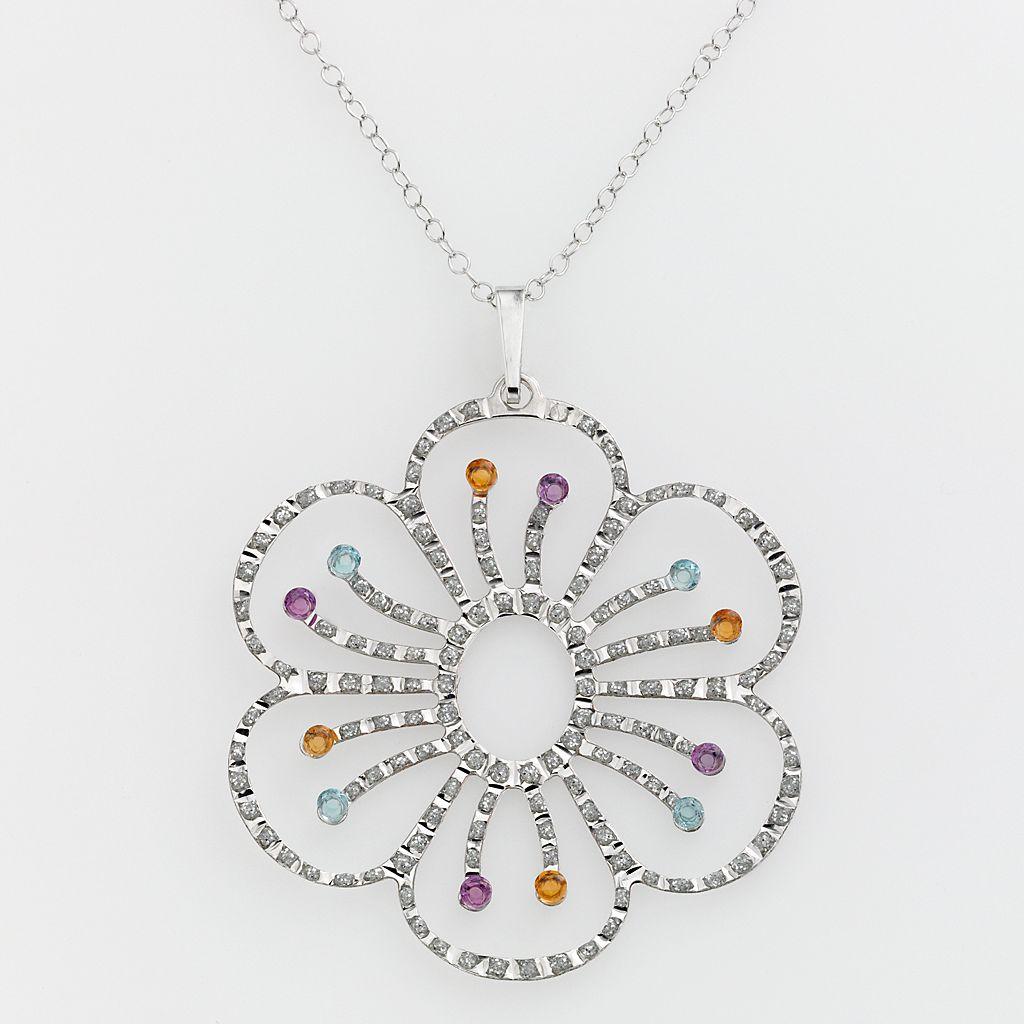 Diamond Mystique™ Platinum-Over-Silver Gemstone & Diamond Accent Floral Pendant