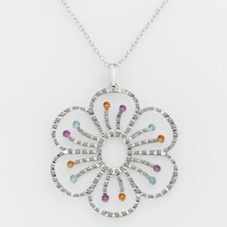 Diamond Mystique Platinum-Over-Silver Gemstone and Diamond Accent Floral Pendant