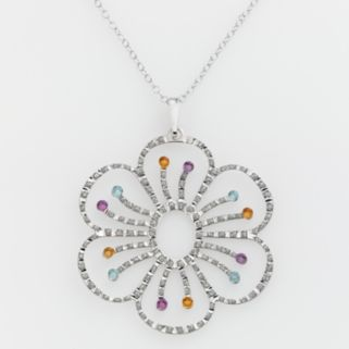 Diamond Mystique Platinum-Over-Silver Gemstone and Diamond Accent Floral Pendant