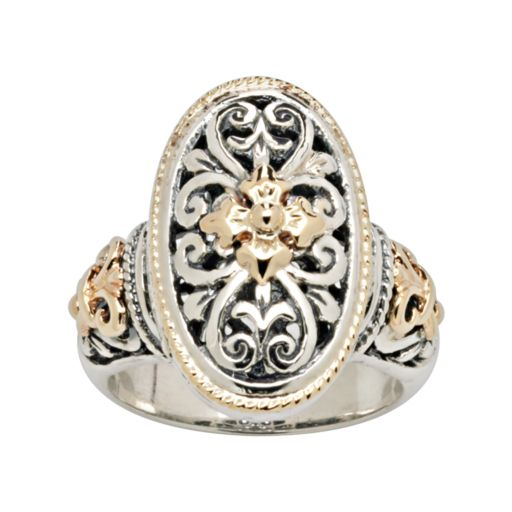 14k Gold and Sterling Silver Etruscan Ring