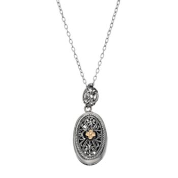 Sterling Silver & 14k Gold Oval Pendant