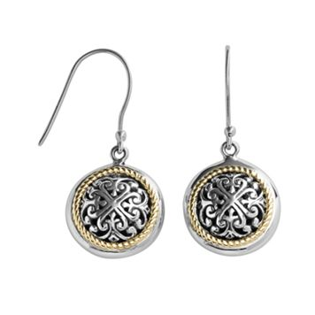 14k Gold & Sterling Silver Etruscan Drop Earrings