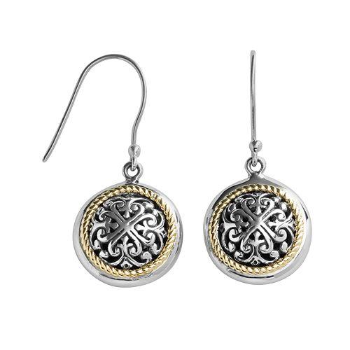 14k Gold & Sterling Silver Etruscan Drop Earrings