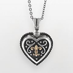 14k Gold & Sterling Silver Etruscan Heart Pendant