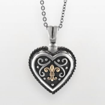 14k Gold and Sterling Silver Etruscan Heart Pendant