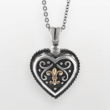 14k Gold & Sterling Silver Etruscan Heart Pendant