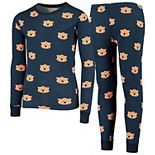 Youth Wes & Willy Navy Auburn Tigers All Over Print Long Sleeve Pajama Set