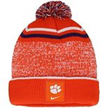 Youth Nike Orange/White Clemson Tigers Sideline Cuffed Knit Hat with Pom