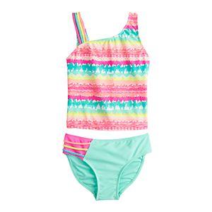 Girls 4-16 SO One Shoulder Rainbow Tankini & Bottoms Swimsuit Set