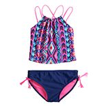 Girls 7-16 SO® High Neck Midkini & Bottoms Swimsuit Set