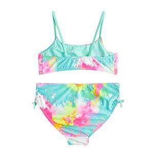 Girls 7-16 SO Tie-Dye Bikini & Side Tie Bottoms Swimsuit Set