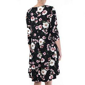 Women's Nina Leonard Print High-Low Trapeze Dress