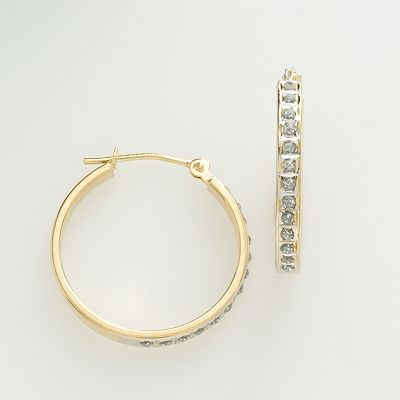 Diamond Fascination 14k Gold Diamond Accent Hoop Earrings