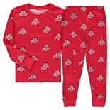 Toddler Wes & Willy Scarlet Ohio State Buckeyes All Over Print Long Sleeve Shirt and Pants Pajama Set