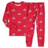 Toddler Wes & Willy Scarlet Ohio State Buckeyes All Over Print Long Sleeve Pajama Set