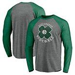Men's Fanatics Branded Heathered Gray/Heathered Kelly Green Pittsburgh Steelers St. Patrick's Day Celtic Tri-Blend Raglan Long Sleeve T-Shirt