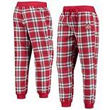 Women's Scarlet/White Ohio State Buckeyes Chill Seeker Flannel Jogger Pants