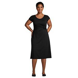 Plus Size Lands' End Twist-Accent Cap Sleeve Fit & Flare Dress
