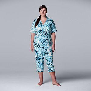Plus Size Simply Vera Vera Wang Short Sleeve Pajama Shirt & Pajama Capris Set