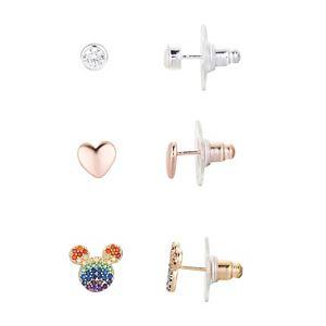 Disney's Mickey Mouse Multicolor Cubic Zirconia, Heart & Bezel Stud Earring Set