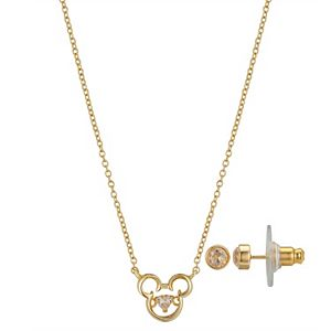 Disney's Mickey Mouse Dancing Cubic Zirconia Necklace & Cubic Zirconia Stud Earring Set