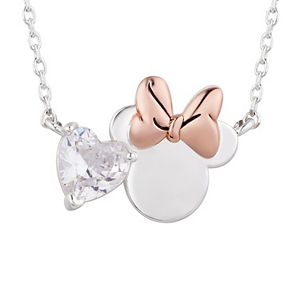 Disney's Minnie Mouse Crystal Heart Necklace & Stud Earring Set