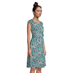 Petite Lands' End Twist-Accent Cap Sleeve Fit & Flare Dress