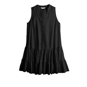 Women's Nine West Sleeveless Button-Front Tiered Dress