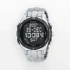 Pulsar Stainless Steel Chronograph World Time Digital Watch