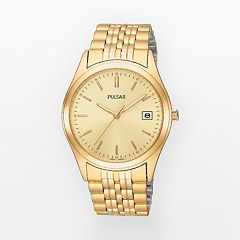Pulsar Stainless Steel Gold Tone Watch - Men