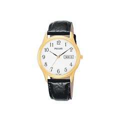 Pulsar Stainless Steel Gold Tone Leather Watch - Men
