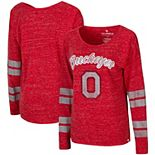 Women's Colosseum Heathered Scarlet Ohio State Buckeyes Nellie Striped Boat Neck Long Sleeve T-Shirt