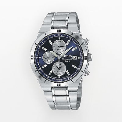 Seiko Stainless Steel Chronograph Watch - Men