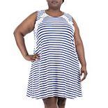 Plus Size Nina Leonard Striped Crochet-Trim Shift Dress