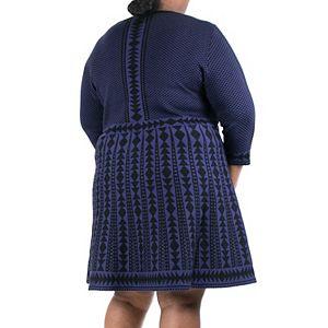 Women's Nina Leonard Geometric Fit & Flare Sweater Dress
