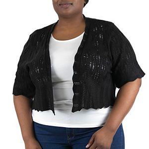 Plus Size Nina Leonard Diamond Knit Bolero