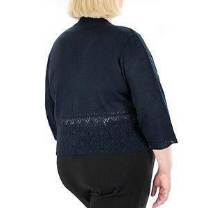 Plus Size Nina Leonard Scallop-Edge Pointelle Bolero