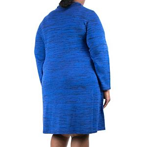 Plus Size Nina Leonard Space-Dye Cowlneck Sweater Dress