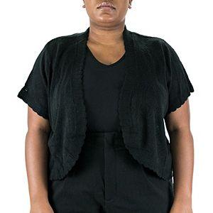 Plus Size Nina Leonard Pointelle Crochet Bolero