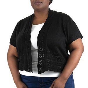 Plus Size Nina Leonard Zig Zag Border Crochet Bolero